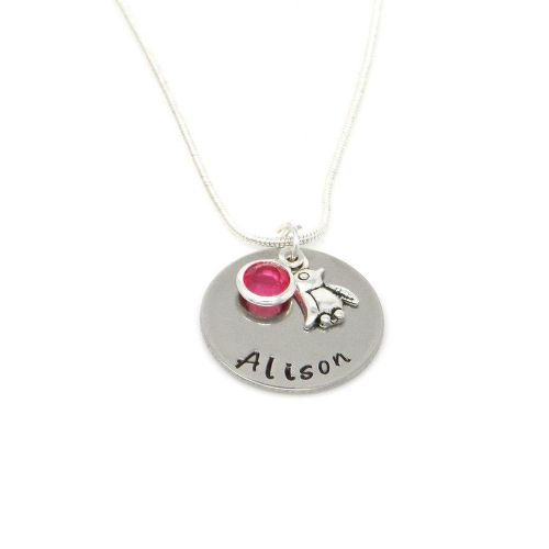 Personalised Penguin Pendant Necklace with Birthstone Charm – Gift Boxed & Free Delivery UK